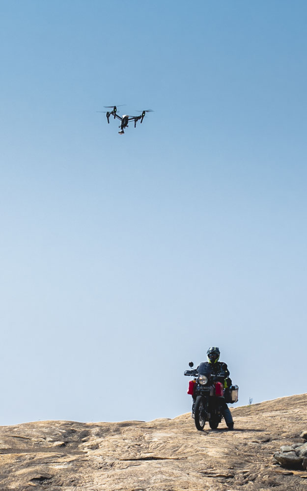 Behind-the-scenes glimpse of our DJI Inspire drone hovering over Abhijit Rao