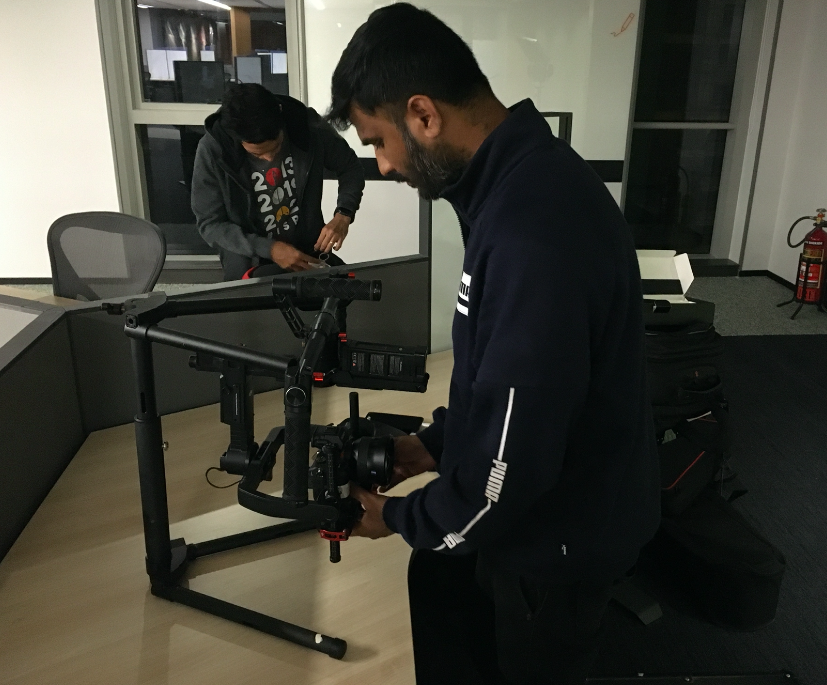A Stabilisation gymbal being set up by one of our film crew for a Corporate Video we just shot in Hyderabad, India.